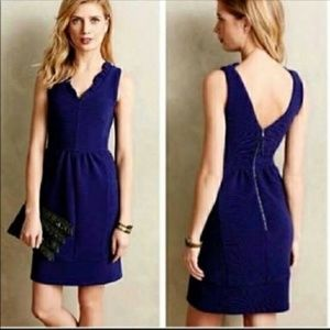 Anthropologie Maeve Ruffles Ottoman Dress Blue